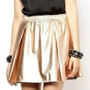 BCBGeneration rose gold metallic mini skater skirt